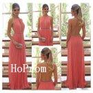 Long Prom Dress,Open Back Prom Dresses,Halter Evening Dress