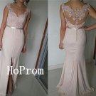 Long Prom Dress,Front Slit Prom Dresses,Pink Evening Dress