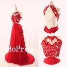 Long Prom Dress,Halter Red Prom Dresses,Applique Evening Dress