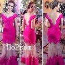Long Prom Dress,Off Shoulder Prom Dresses,Hot Pink Evening Dress