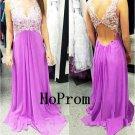 Long Prom Dress,V-Neck Prom Dresses,Applique Evening Dress