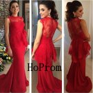 Long Prom Dress,Red Lace Prom Dresses,High Neck Evening Dress