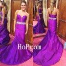 Long Prom Dress,Purple Satin Prom Dresses,Sweetheart Evening Dress