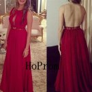 Long Prom Dress,See Through Back Prom Dresses,Red Evening Dress