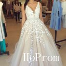 Long Prom Dress,V-Neck Applique Prom Dresses,Sleeveless Evening Dress