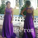 Long Prom Dress,Purple A-Line Prom Dresses,Beading Evening Dress