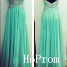 Long Prom Dress,Spaghetti Straps Prom Dresses,Mint Evening Dress