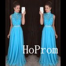 Long Prom Dress,High Neck Prom Dresses,Sleeveless Blue Evening Dress