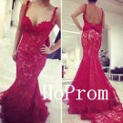 Sweetheart Prom Dress,Red Straps Prom Dresses,Long Evening Dress