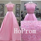 Long Pink Prom Dress,Caop Sleeve Prom Dresses,Applique Evening Dress