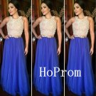 Royal Blue Prom Dress,A-Line Prom Dresses,Chiffon Evening Dress