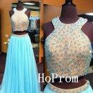 Halter Prom Dress,Two Piece Prom Dresses,Beading Evening Dress