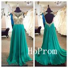 Long Backless Prom Dress,Green Prom Dresses,Beading Evening Dress