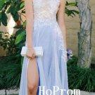Long Chiffon Prom Dress,Sleeveless Prom Dresses,Lace Evening Dress