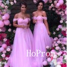 Long Pink Prom Dress,Off Shoulder Prom Dresses,A-Line Evening Dress