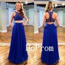 Two Piece Prom Dress,Royal Blue Prom Dresses,Long Evening Dress