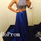 Long Beading Prom Dress,Two Piece Prom Dresses,Blue Evening Dress