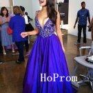Sexy Blue Prom Dress,V-Neck Prom Dresses,Long Evening Dress
