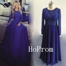 Long Sleeve Prom Dress,Royal Blue Prom Dresses,Lace Evening Dress