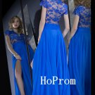 Short Sleeve Prom Dress,Royal Blue Prom Dresses,Lace Evening Dress