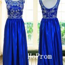 A-Line Prom Dress,Sleeveless Prom Dresses,Blue Evening Dress