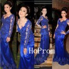Royal Blue Prom Dress,Long Sleeve Prom Dresses,Long Evening Dress