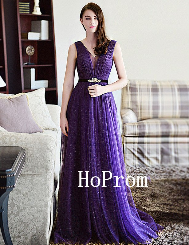 Sparkly Prom Dress,Purple Prom Dresses,Long Evening Dress