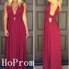 V-Neck Prom Dress,Chiffon Simple Prom Dresses,Long Evening Dress