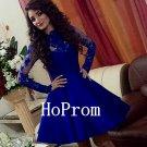 High Neck Prom Dress,Short Prom Dresses,Blue Evening Dress