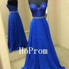 Srapless Blue Prom Dress,A-Line Prom Dresses,Long Evening Dress