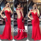 Backless Prom Dress,Red Prom Dresses,Long Evening Dress