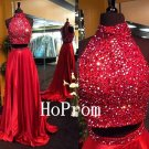 High Neck Prom Dress,Two Piece Prom Dresses,Beaded Evening Dress