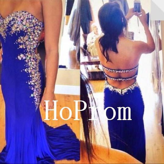 Strapless Prom Dress,Backless Prom Dresses,Beading Evening Dress