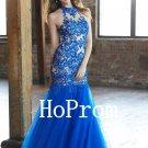 Applique Tulle Prom Dress,Mermaid Prom Dresses,Long Evening Dress