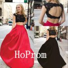 Two Piece Prom Dress,Cap Sleeve Prom Dresses,Long Evening Dress