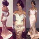 Off Shoulder Prom Dress,Pink Prom Dresses,Mermaid Evening Dress