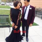 Lace Black Prom Dress,Mermaid Prom Dresses,Long Evening Dress