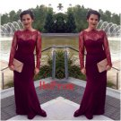 Burgundy Lace Prom Dress,Long Sleeve Prom Dresses,Evening Dress