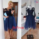 Knee Length Prom Dress,Lace Prom Dresses,Tulle Evening Dress