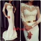 White Applique Prom Dress,Sheath Prom Dresses,Long Evening Dress