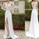 White  Long Prom Dress,V-Neck Prom Dresses,Evening Dress
