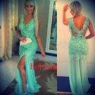 V-Neck Prom Dress,Sleeveless Prom Dresses,Long Evening Dress