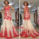 V-Neck Prom Dress,Red Prom Dresses,Mermaid Evening Dress