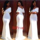 White Satin Prom Dress,Long Prom Dresses,Sheath Evening Dress