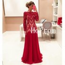 Lace Applique Prom Dress,Long Prom Dresses,Long Sleeve Evening Dress