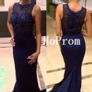 Beaded Prom Dress,Sleeveless Prom Dresses,Floor Length Evening Dress
