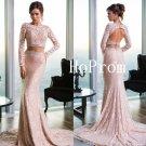 Sweep Train Prom Dress,Lace Prom Dresses,Pink Evening Dress