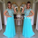 Cap Sleeve Prom Dress,Blue Prom Dresses,Long Evening Dress