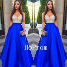 V-Neck Beaded Prom Dress,A-Line Prom Dresses,Long Evening Dress