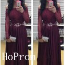Off Shoulder Prom DressLong Sleeve Prom Dresses,Evening Dress